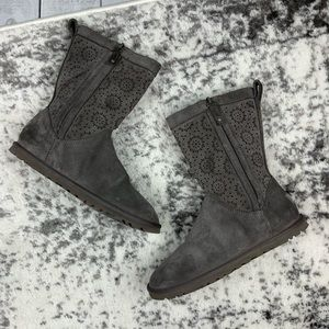Ugg Lo Pro Short Perf laser cut suede gray boots